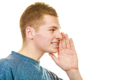 Man face profile with hand gesture speaking Royalty Free Stock Photography