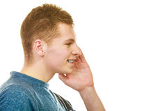 Man face profile with hand gesture speaking Royalty Free Stock Photo