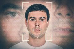 Man face recognition - biometric verification concept. Retro style stock photography