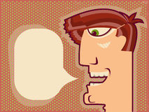 Man face speaking.Vector Cartoon background for de Royalty Free Stock Photo