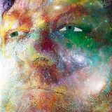 Man Face in Universe. Surrealism. Man`s face on deep space background. Human elements were created with 3D software and are not from any actual human likenesses Stock Image