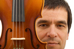Man face with violin detail Stock Photo