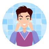 Man Face Wash. Washing, Shaving, Moisturizing Stock Image
