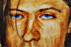 Man face. Watercolor. Royalty Free Stock Photography