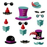 Man faces avatar creator. Set with hats, eyeglasses, beard and mustache. Man faces avatar creator. Create your own icons for social media or web site. Flat style stock illustration