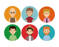 Man faces different circle icons Stock Images