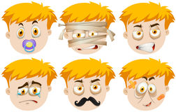 Man faces with different emotions Stock Images