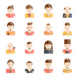 Man Faces Icons Flat. Man faces collection with mood expressions flat icons set isolated vector illustration Stock Photography
