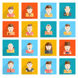 Man Faces Icons Flat Stock Photo