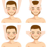 Man Facial Massage. Collection of four facial massage techniques on attractive young man  on white background Stock Images