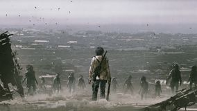 Free Man Facing A Crowd Of Zombies Royalty Free Stock Photo - 123061145