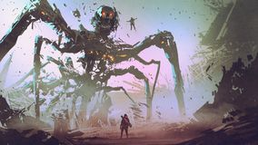 Facing the giant spider robot stock illustration