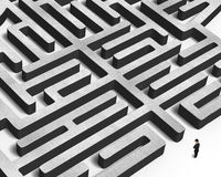 Man facing huge concrete maze Royalty Free Stock Images