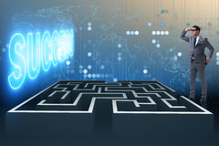 The man facing the maze in business concept. Man facing the maze in business concept Stock Images