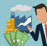 Man factory money growth arrow business. Illustration eps 10 Stock Photo