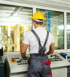 Man on a factory Stock Images