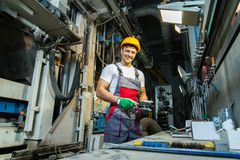 Man on a factory Stock Image