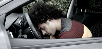 Man fainted after car accident Royalty Free Stock Photo