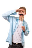Man with fake mustaches. Isolated on white background royalty free stock images