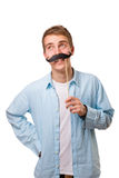 Man with fake mustaches. Isolated on white background royalty free stock photo