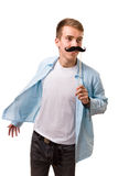 Man with fake mustaches. Isolated on white background stock photos