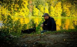 Man in fall nature Stock Images