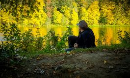 Man in fall nature Royalty Free Stock Photo