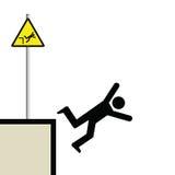 Man falling. Warning hazard sign and signage man falling Vector Illustration