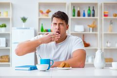The man falling asleep during his breakfast after overtime work Stock Photography
