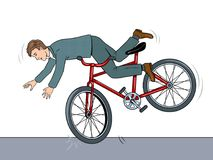 Man falling of bicycle pop art vector illustration Stock Images