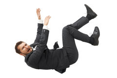 Man falling down and screaming. Scared businessman falling down and screaming. isolated on white background Stock Photos