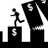 Man falling from graphic. Illustration (vector) of a man that run from a falling graphic Stock Photo