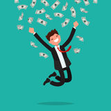 On a man are falling money bills. Joyful businesswoman jumping f. Rom happiness. Vector illustration of a flat design Royalty Free Stock Images
