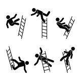 Man falling off a ladder stick figure pictogram. Different positions of flying person icon set symbol posture on white. Man falling off a ladder stick figure Royalty Free Stock Photo
