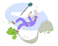 Man falling into a pit. Illustration of a man with a shovel falling into a pit he dug Stock Images