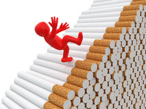 Man falls from cigarettes (clipping path included) Royalty Free Stock Images