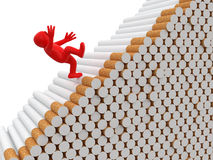 Man falls from cigarettes (clipping path included) Stock Photography