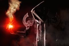 Dark demon cosplay. Man in a fantasy costume of a dark demon, cosplay Stock Image