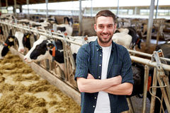Man or farmer with cows in cowshed on dairy farm. Agriculture industry, farming, people and animal husbandry concept - happy smiling young man or farmer with Royalty Free Stock Photos