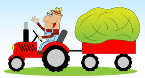 The man is a farmer on a tractor driven hay for animals Stock Photo