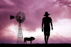Man in the farmland Stock Photo
