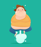 Man farting with blank balloon out from his bottom , Fat, Royalty Free Stock Photo