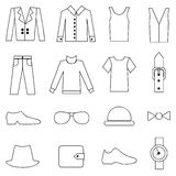 Man fashion and clothes icons Royalty Free Stock Photos