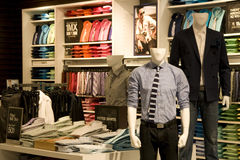 Man fashion clothing store Royalty Free Stock Images