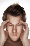 Man fashion model. Close up portrait with closed eyes Stock Images