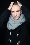 Man Fashion Model with Woolen Scarf Royalty Free Stock Photos
