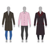 Man fashion set. Full length man`s gray silhouette figure in a coat, shirt and skinny jeans template set front & back view Stock Image