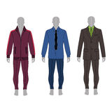 Man fashion set. Full length man`s gray silhouette figure in a suit, shirt and skinny jeans template set front & back view Royalty Free Stock Photos