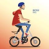 Man on fashionable folding bike. Vector illustration featuring young man rides on fashionable folding bike Royalty Free Stock Image
