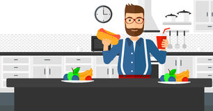 Man with fast food. Stock Images